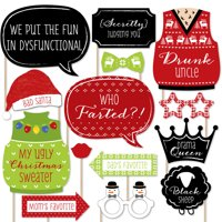 Christmas Family Reunion - Fun Family Theme Holiday Party Photo Booth Props Kit - 20 Count