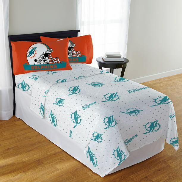 Nfl Miami Dolphins Monument Sheet Set, Miami Dolphins Bedding Sets