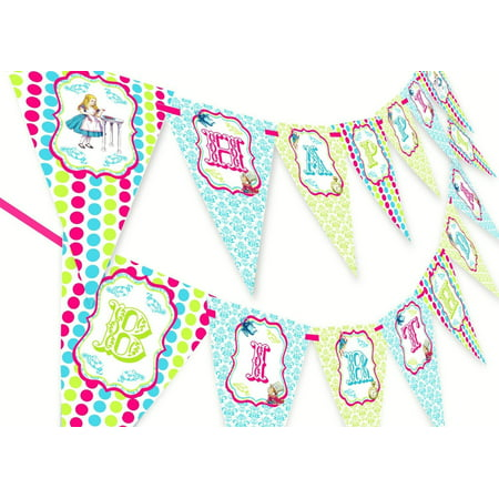 Alice in Wonderland Happy Birthday Banner - - Alice In Wonderland Birthday Decorations