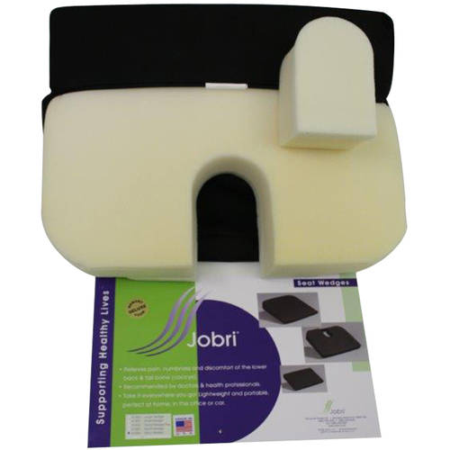 Jobri BetterPosture Memory Seat Wedge with Removable Coccyx Cut-Out, Black