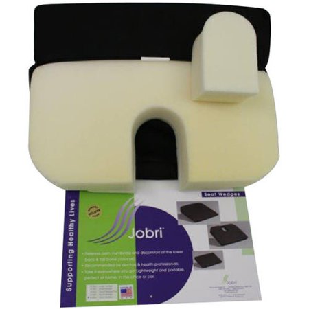 Coccyx Cut Out - Jobri BetterPosture Memory Seat Wedge with Removable Coccyx Cut-Out, Black