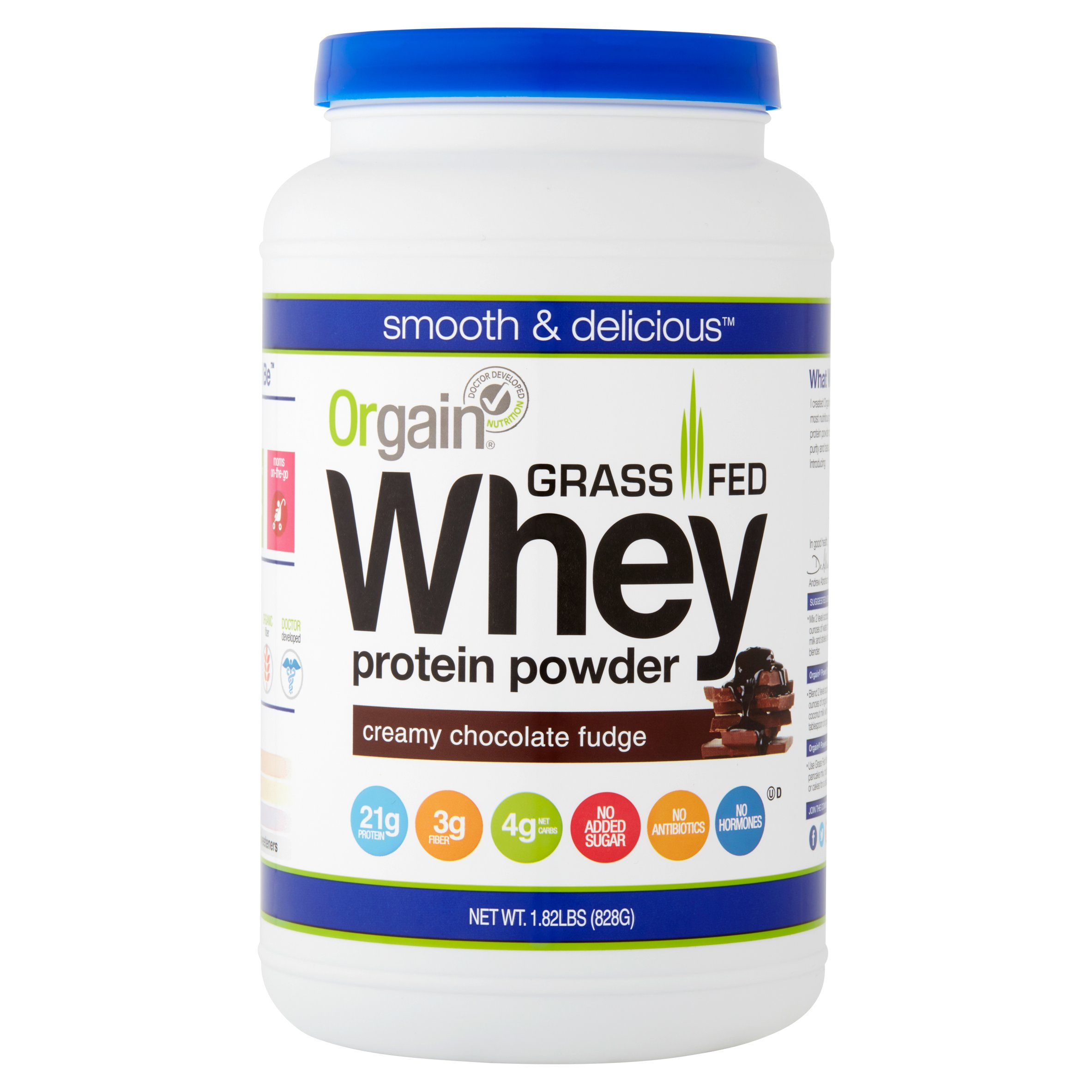Orgain Grass Fed Whey Protein Powder, Chocolate, 21g Protein, 1.8 Lb ...