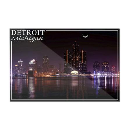 Detroit  Michigan   Skyline At Night   Lantern Press Photography  12X8 Acrylic Wall Art Gallery Quality