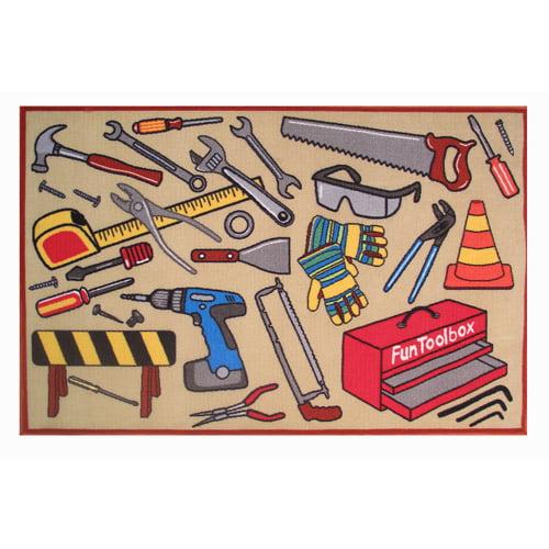 Fun Rugs Fun Toolbox Kids' Rug, Light Brown