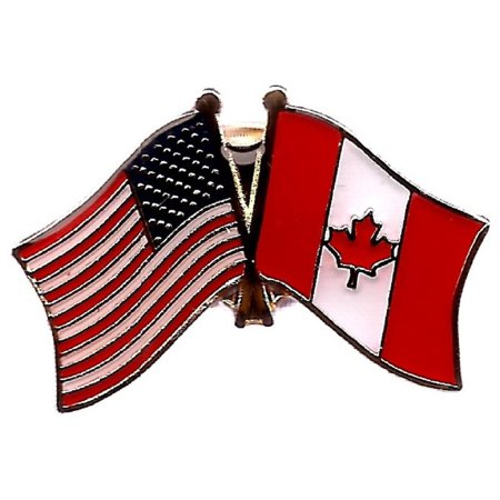 PACK of 3 Canada & US Crossed Double Flag Lapel Pins, Canadian & American Friendship Pin Badge