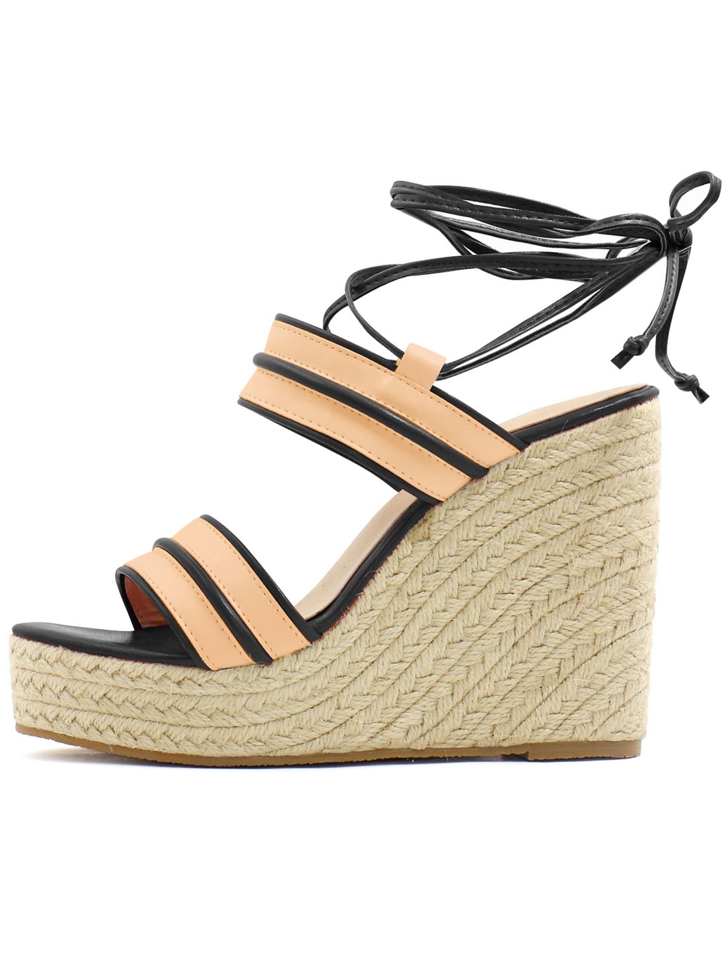 df6676e89ac Unique Bargain Women's Striped Ankle Tie Espadrille Wedge Heel Sandals  Black (Size 9.5)