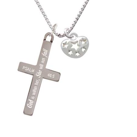 Silvertone Small Heart with Cut Out Stars - She will not Fall - Cross - Fall Cut Outs