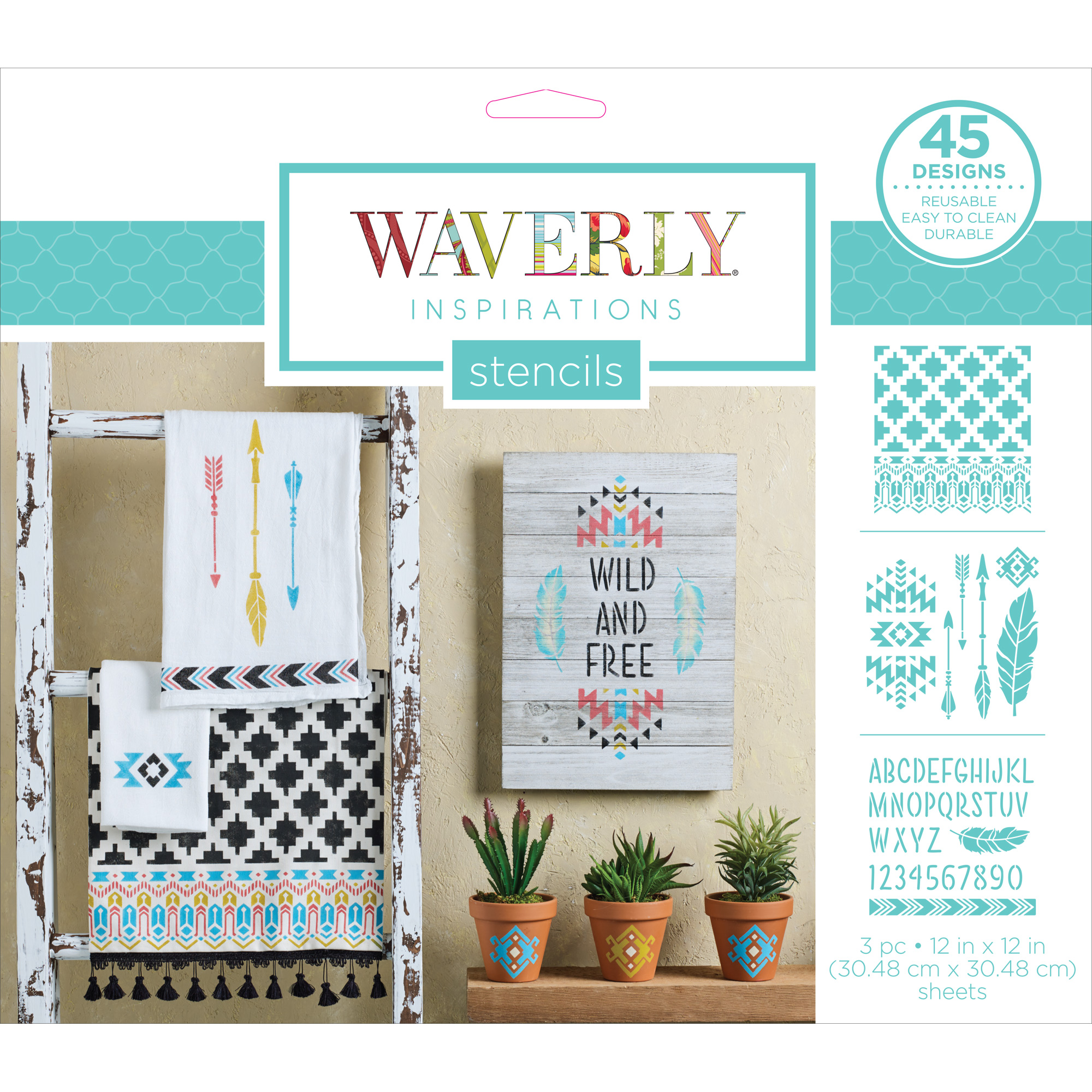 Stencil Plastic Waverly Inspirations 3Pc 12X12 Tribal