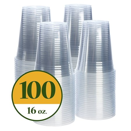 Comfy Package 16 oz. Crystal Clear PET Plastic Cups [100 Pack]