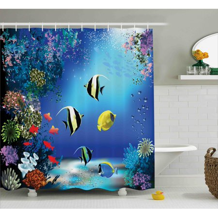 Underwater Shower Curtain, Tropical Undersea with Colorful Fishes Swimming in the Ocean Coral Reefs Artsy Image, Fabric Bathroom Set with Hooks, 69W X 70L Inches, Blue, by Ambesonne ()