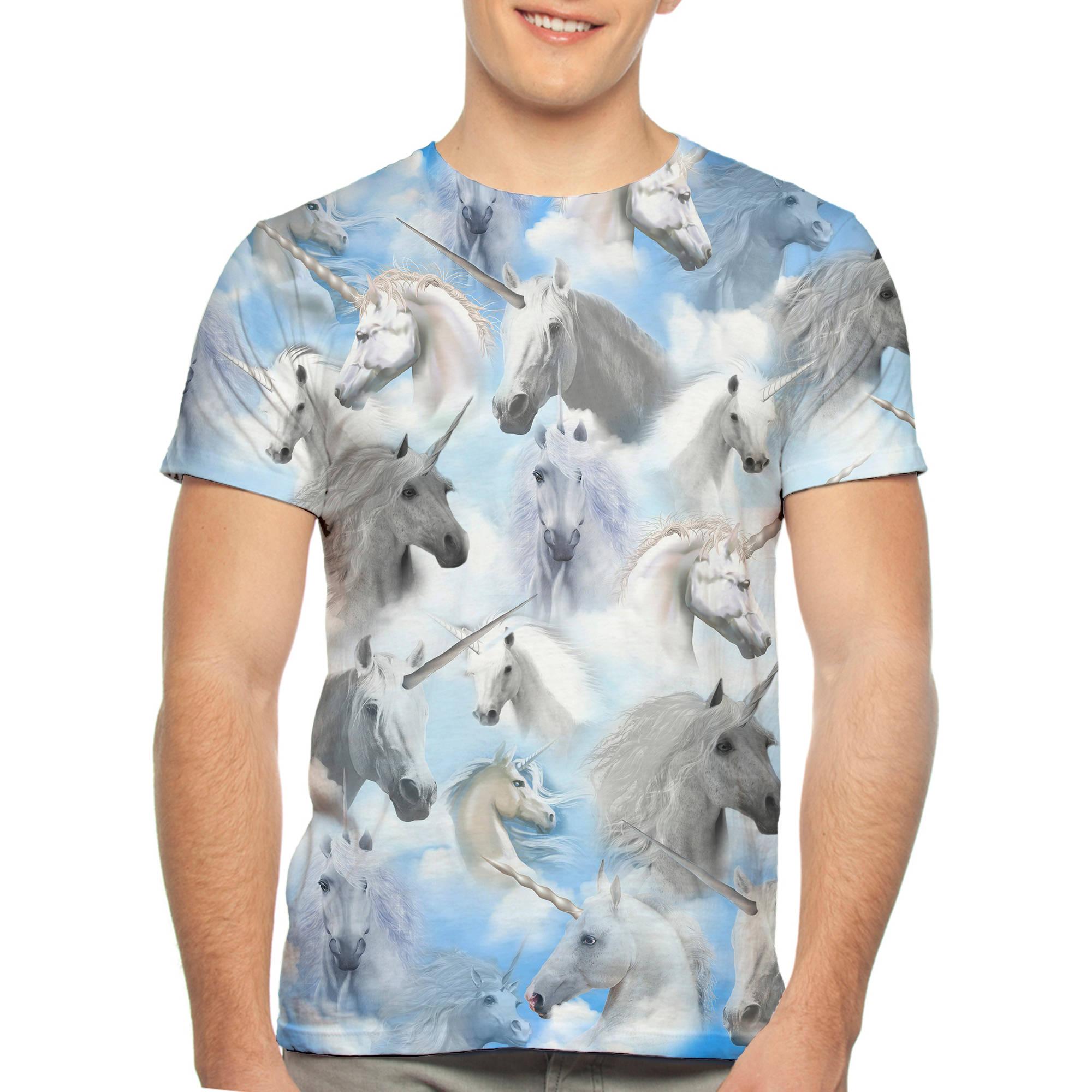 Unicorn All Over Print Big Men's Graphic Tee, 2XL