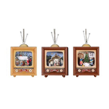 Club Pack Of 12 Icy Crystal Decorative Christmas Scene Tv Ornaments 4