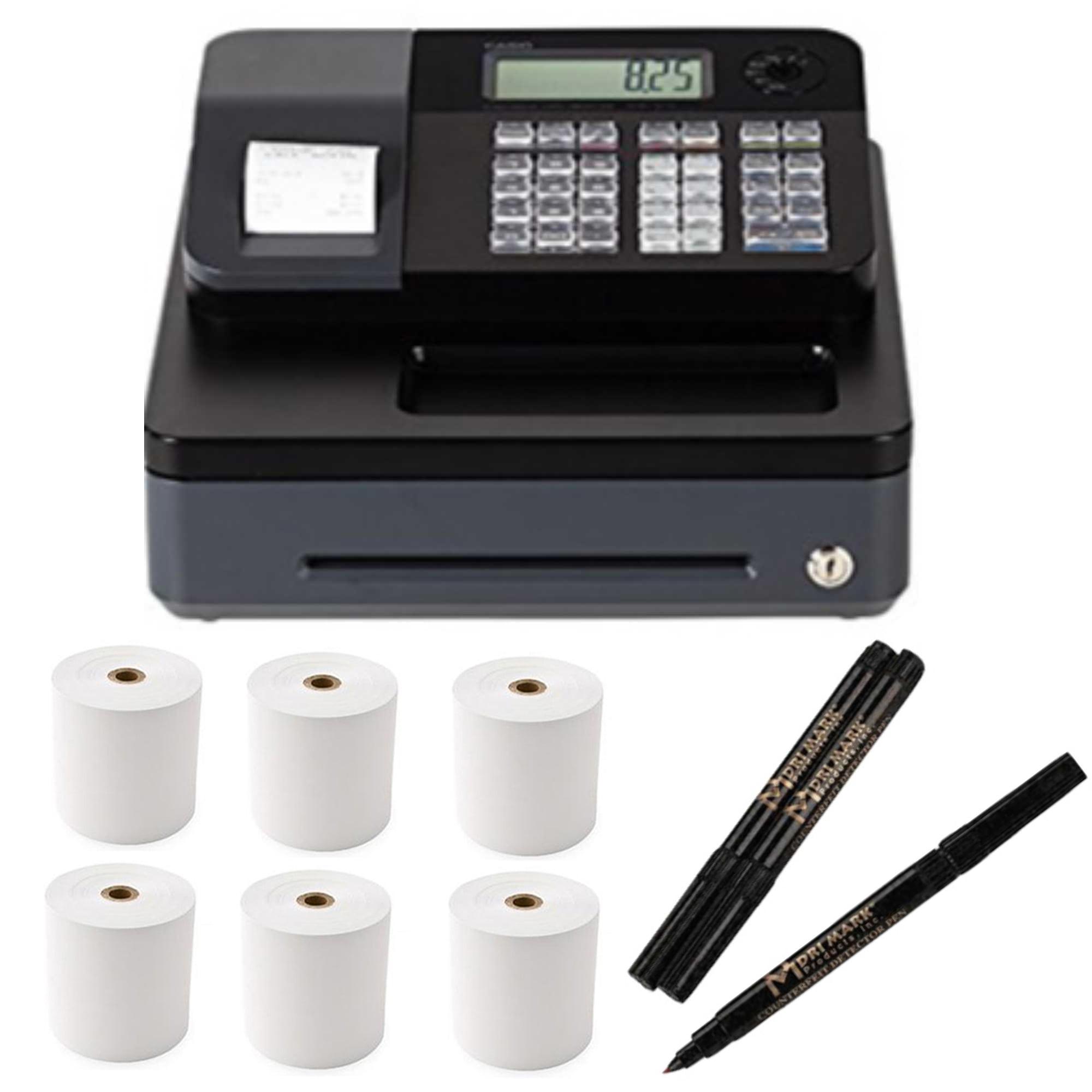 Casio Electronic Cash Register PCRT273 w/ Counterfeit Detector Pen & Paper