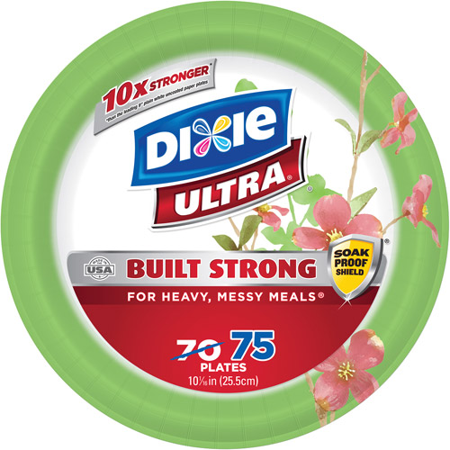 "Dixie Ultra Paper Plates, 10.0625"", 75 count"