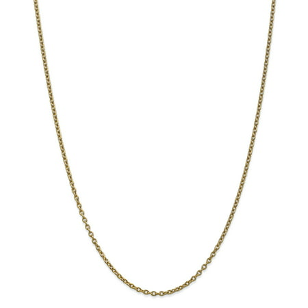 14K Yellow Gold 2.4mm Cable Chain 24 Inch - image 5 de 5