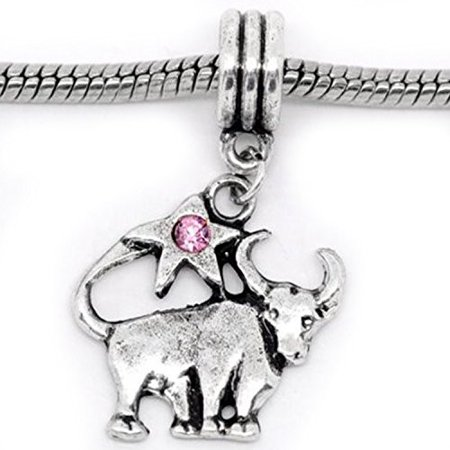 Taurus Zodiac Charm W/pink Crystal Dangle Bead for Snake Bracelets