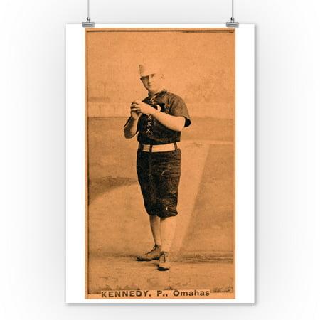 Omaha Minor League - Ted Kennedy - Baseball Card (9x12 Art Print, Wall Decor Travel Poster) - Home Decor Omaha