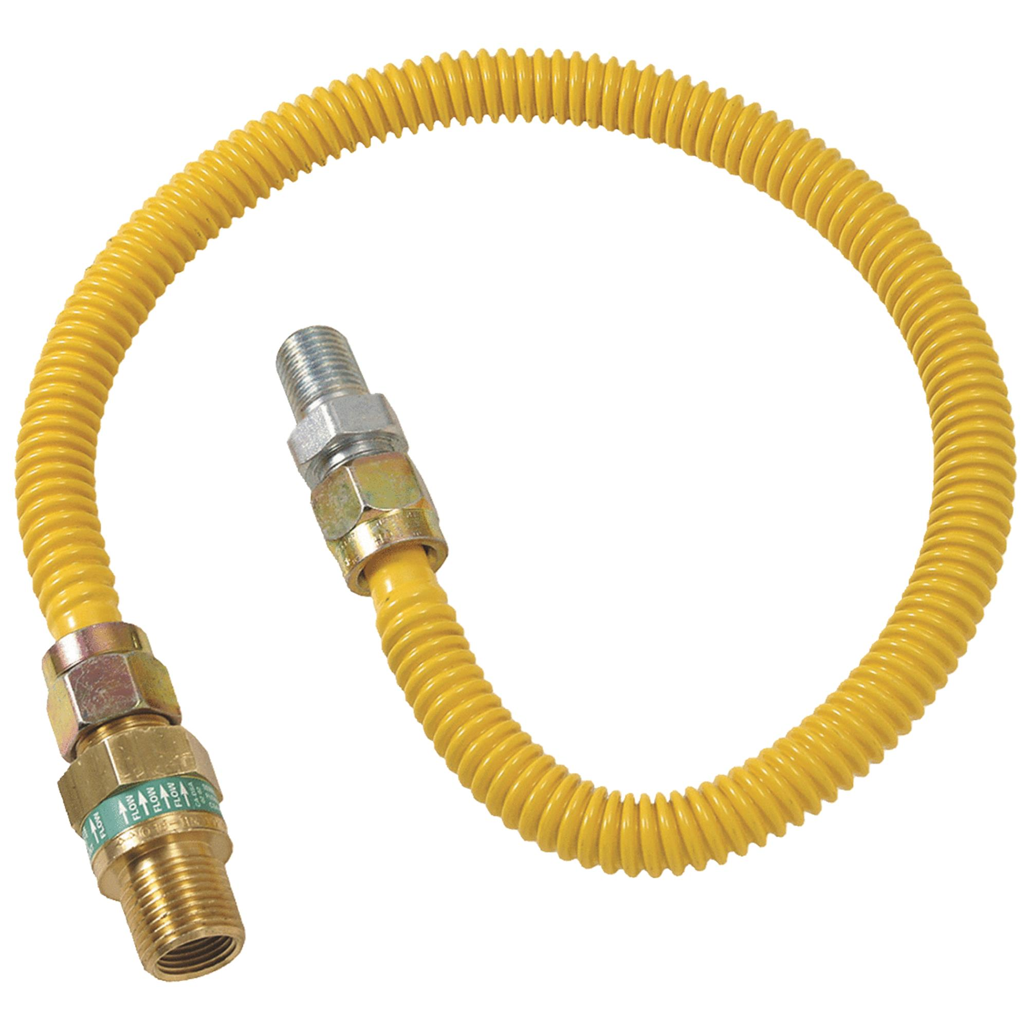 "1/2"" O.D. Gas Connector - 1/2"" M.I.P. Safety+PLUS x 1/2"" M.I.P."