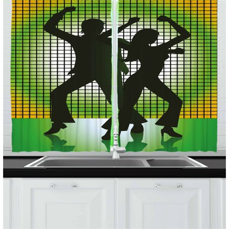 70s Party Curtains 2 Panels Set, Silhouette Illustration of Couple Dancing in Disco Love, Window Drapes for Living Room Bedroom, 55W X 39L Inches, Pale Green Dark Green and Yellow, by Ambesonne (Disco Couple)