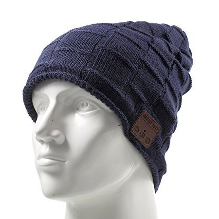 MUIFA Wireless Headset Music Hat, Knit Winter Warm Beanie Headphone w/Built-in Microphone for Hands-Free Calling - Dark