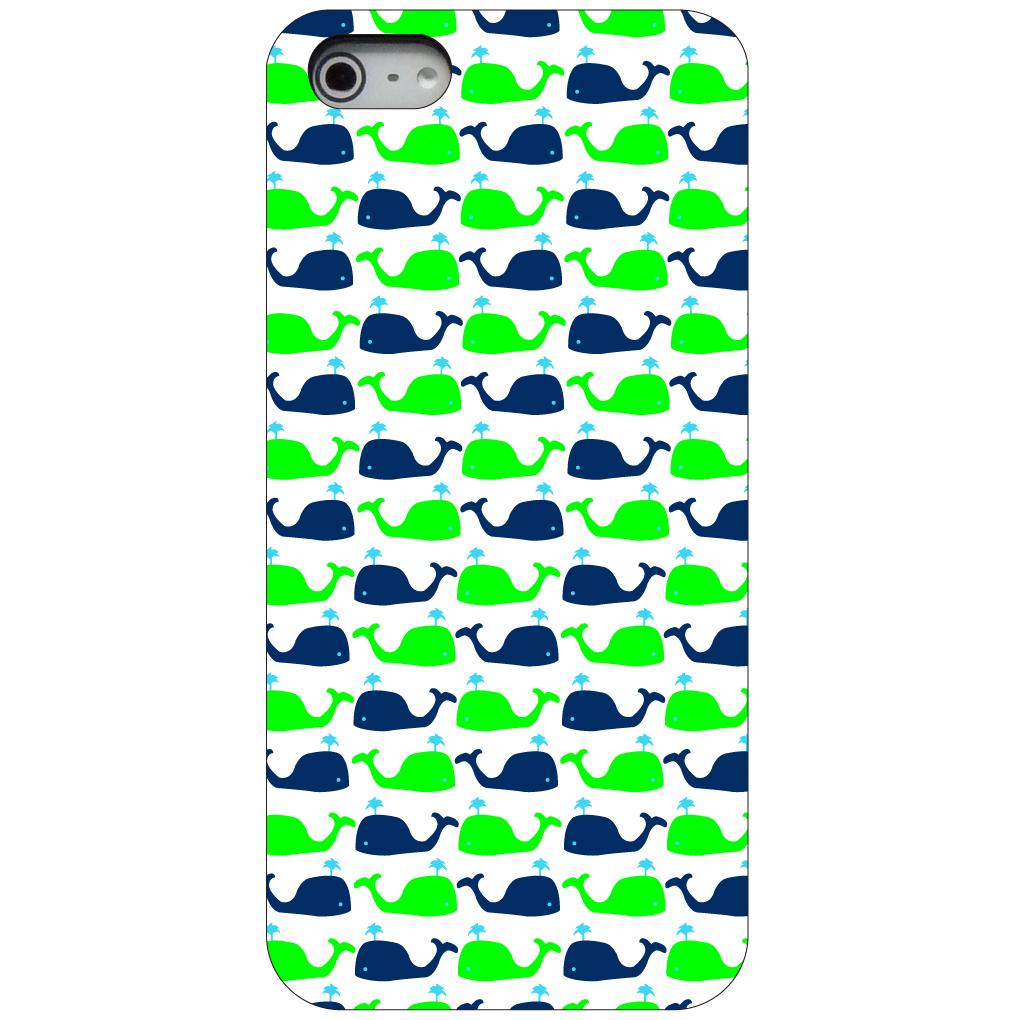 CUSTOM Black Hard Plastic Snap-On Case for Apple iPhone 5 / 5S / SE - Green Navy Cartoon Whales