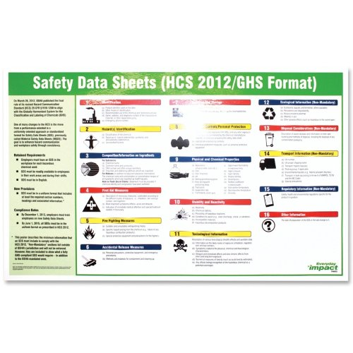 """Impact Products Safety Data Sheet English Poster - Safety - 32"""" Width X 20"""" Height - Assorted (lfp-799072)"""