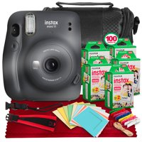 FUJIFILM INSTAX Mini 11 Instant Film Camera (Charcoal Grey) + ACCESSORY BUNDLE THAT INCLUDES 5X Fujifilm Instax Mini Twin Film (100 Exposures), Camera Carrying Case, Camera Strap & Funky Film Frames