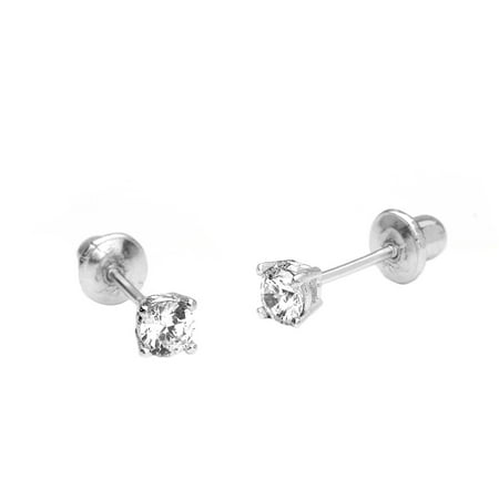 14k White Gold 2mm Basket Round Cubic Zirconia Solitaire Children Screw Back Baby Girls (White Gold Girl)