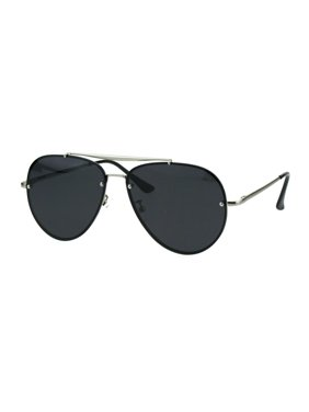 993e4ada25a7d Product Image Mens Polarized Lens Rimless Luxury Pilots Metal Rim  Sunglasses Silver Black