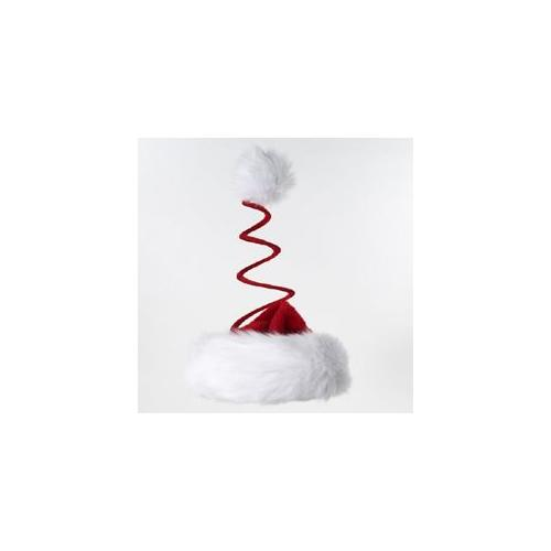 Club Pack of 24 Red Christmas Santa Claus Hats with Whimsical Coiled Pom Poms