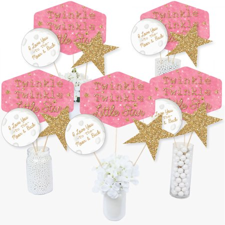 Pink Twinkle Twinkle Little Star - Baby Shower or Birthday Party Centerpiece Sticks - Table Toppers - Set of 15 - Birthday Centerpiece Ideas For Adults