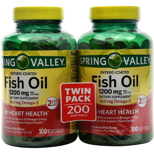 Spring Valley Coated Fish Oil Softgels, 1200mg, 100 pc, 2 ct