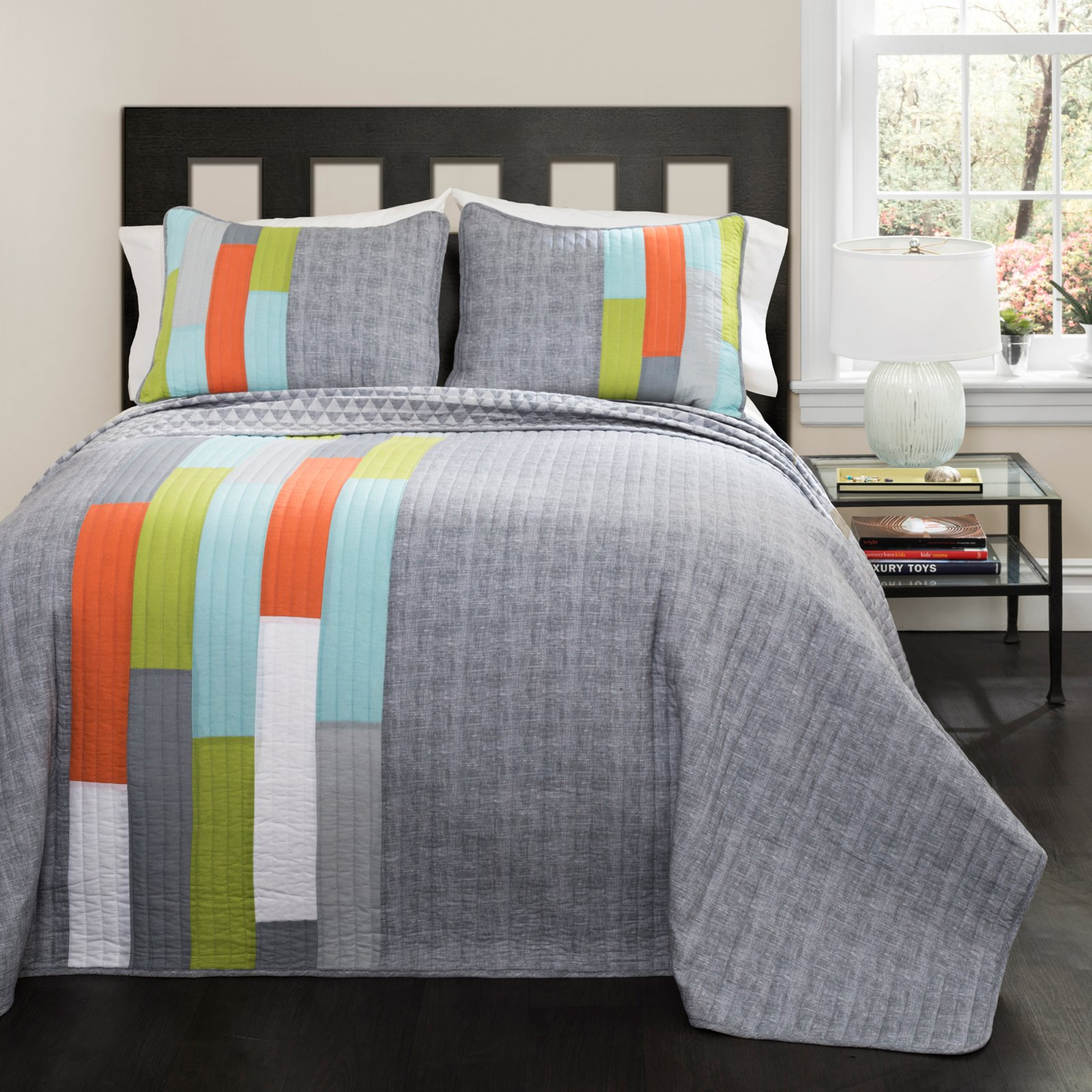 Shelly Stripe Orange/Blue Bedding Quilt Set
