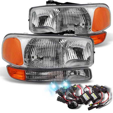 Fit 00-06 GMC Sierra Yukon XL Replacement Headlights + 8000K Blue White HID Kit