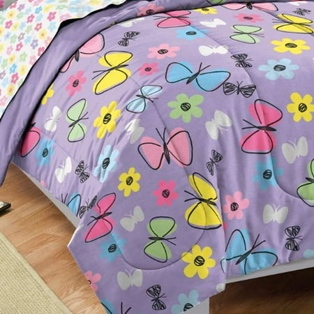 Dream Factory Sweet Butterfly Ultra Soft Microfiber Girls Comforter Set, Purple, Twin - Tween Girls
