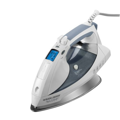 Black & Decker D6000 All-Temp Steam Iron with Stainless-Steel Soleplate, White Grey by