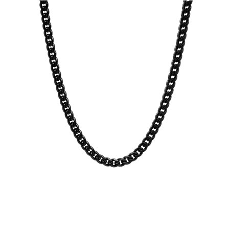 Men's Black Stainless Steel Franco Link Chain Necklace Black Chain Link