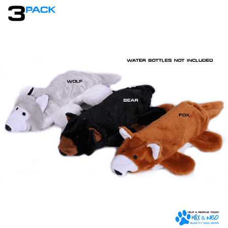 (Max and Neo Water Bottle Dog Toys - 3 Pack - We Donate a Toy to a Dog Rescue for Every Toy Sold (Fox, Bear and Wolf))