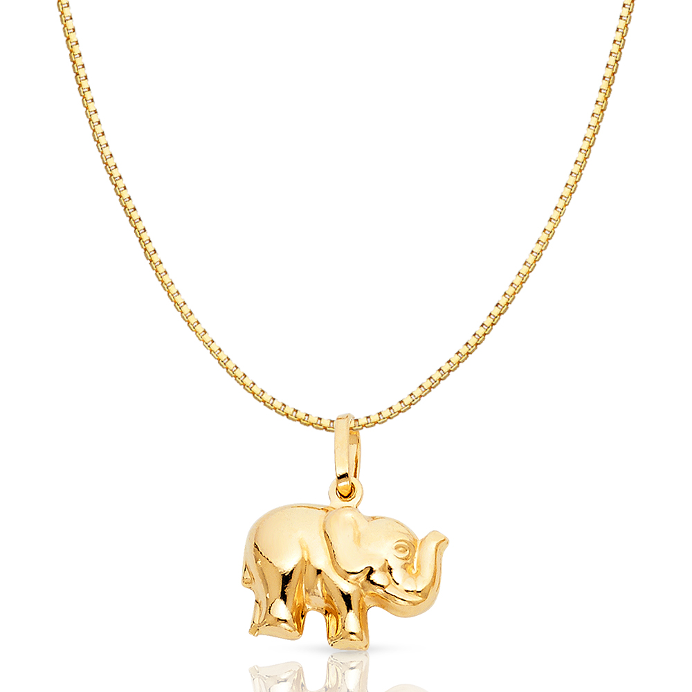 Box or Curb Chain Necklace 14k Yellow Gold Elephant Pendant on a 14K Yellow Gold Rope