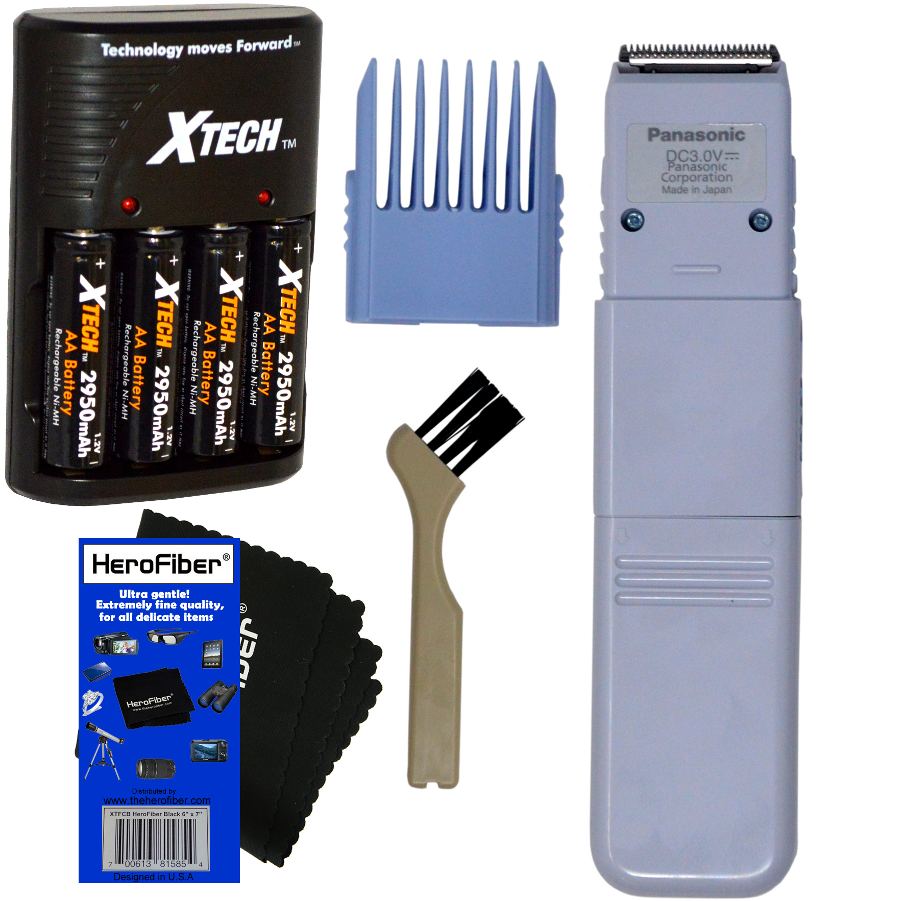 Panasonic 5-Position Bikini Trimmer & Shaper for Women + Comb Attachment +Xtech 4 AA Rechargeable Batteries with Quick Charger + Cleaning Brush + HeroFiber Ultra Gentle Cleaning Cloth