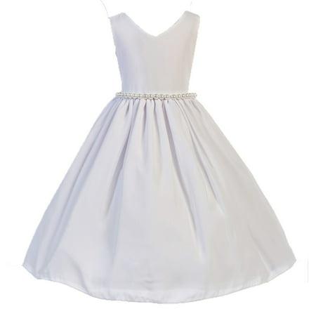 Little Girl White Wool Dobby Pearl Elegant Sleeveless Special Occasion Dress