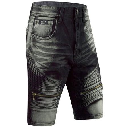 ed13ce5118 Mens SLIM Fit Denim Jeans SHORTS WASHED STRETCH RIPPED VINTAGE - Walmart.com