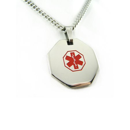 MyIDDr - Pre-Engraved Blood Thinners Stainless Steel Medical Alert ID Necklace, Free ID Card Incd - USA Seller - Medical Jewelry Id Plate