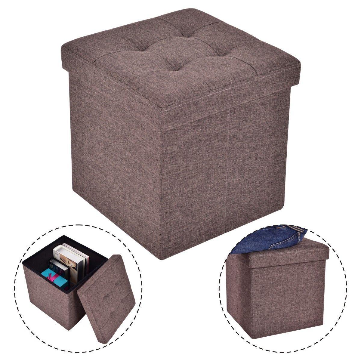 Costway Folding Storage Cube Ottoman Seat Stool Box Footrest Furniture Decor Brown