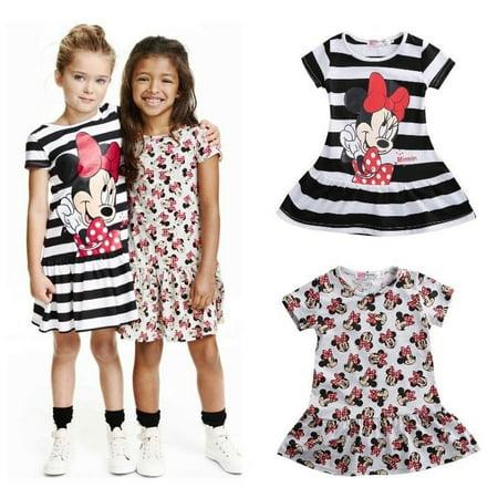 Kids Toddler Baby Girls Stripes Print Summer Short Sleeves Casual Dress Sundress - Casual Dress Up For Girls