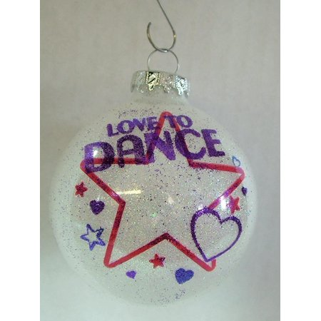 Love to Dance Stars and Hearts Glass Bulb Christmas Tree Ornament By On Holiday Ship from US ()