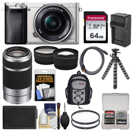 Sony Alpha A6000 Wi-Fi Digital Camera + 16-50mm Lens (Silver) with 55-210mm Lens + 64GB Card + Case + Battery/Charger + Tripod + Kit
