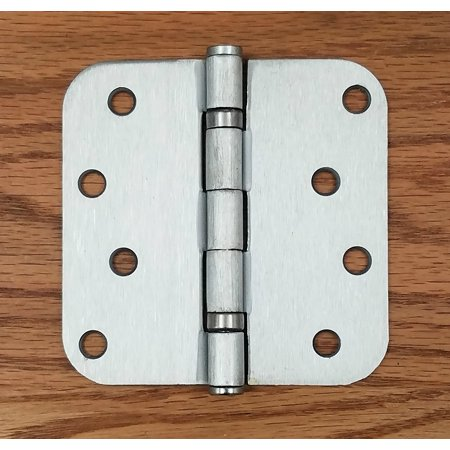 (Satin Chrome Door Hinges - Ball Bearing - 4 inch with 5/8 Inch Radius - Exterior or Interior - 2 Pack)