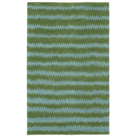 Inca 9450-16 Hand Tufted Ikat Chevron Oriental Rug, Green - 9 x 12 (Oriental Twelve Light)