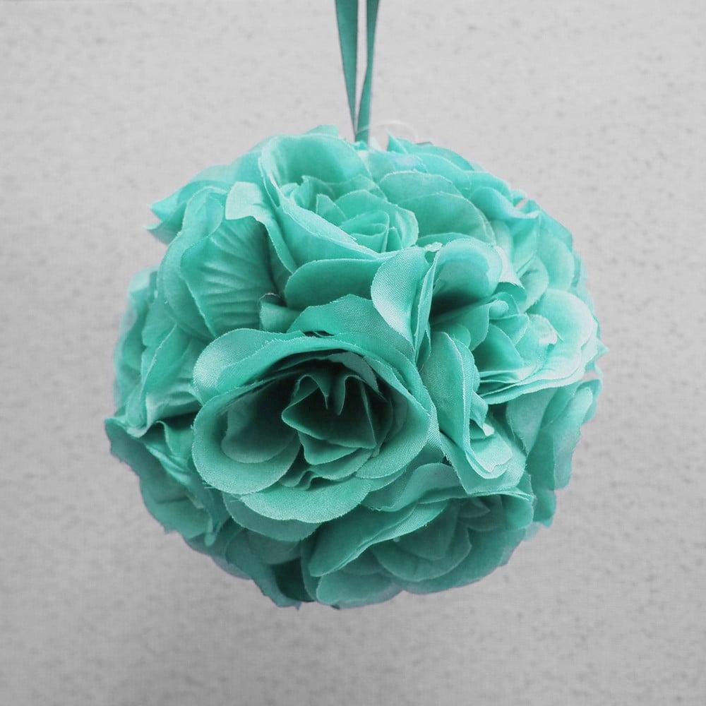 Silk Flower Kissing Balls Wedding Centerpiece, 6-Inch, Aqua